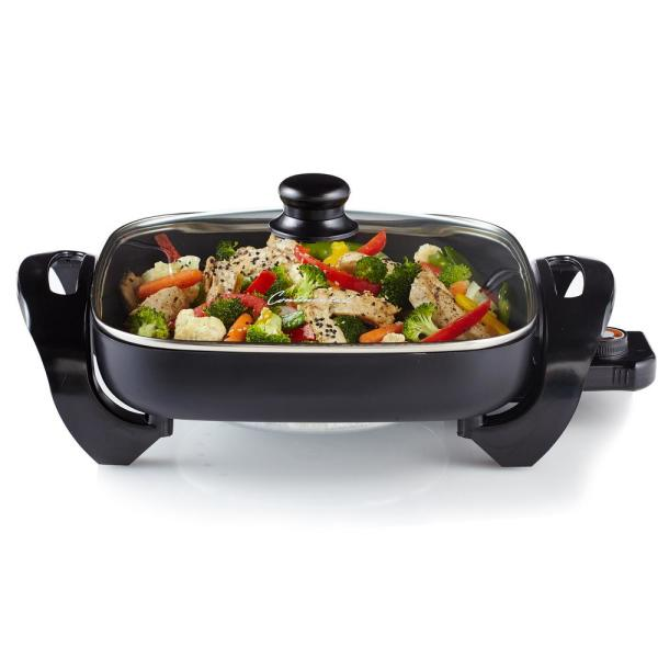 12 in. Black Electric Skillet with Non-Skid Feet and Glass Lid