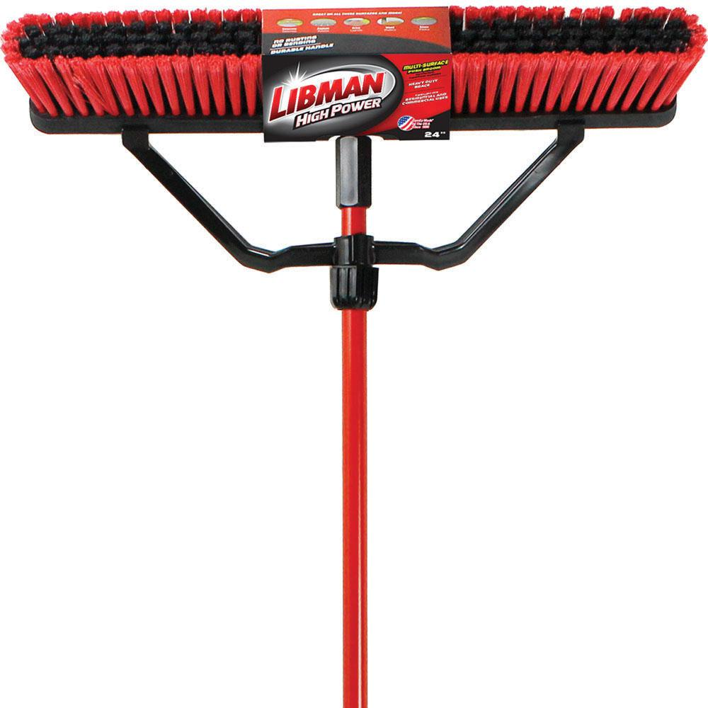 Libman 24 in. Multi-Surface Push Broom Set with Brace and Handle