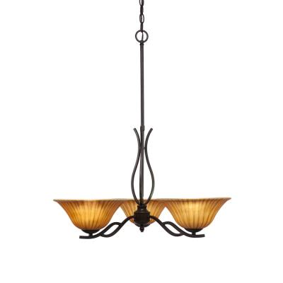 3-Light Dark Granite Chandelier with 10 in. Tiger Glass