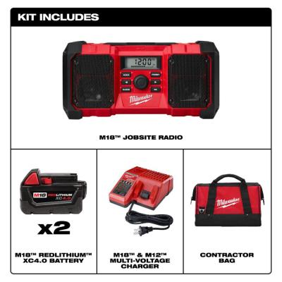 M18 18-Volt Lithium-Ion Cordless Jobsite Radio with Two 4.0 Ah Batteries, Charger and Contractor Bag
