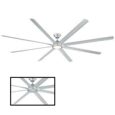 Hydra 120 in. LED Indoor/Outdoor Titanium Silver 8-Blade Smart Ceiling Fan with 3000K Light Kit and Wall Control