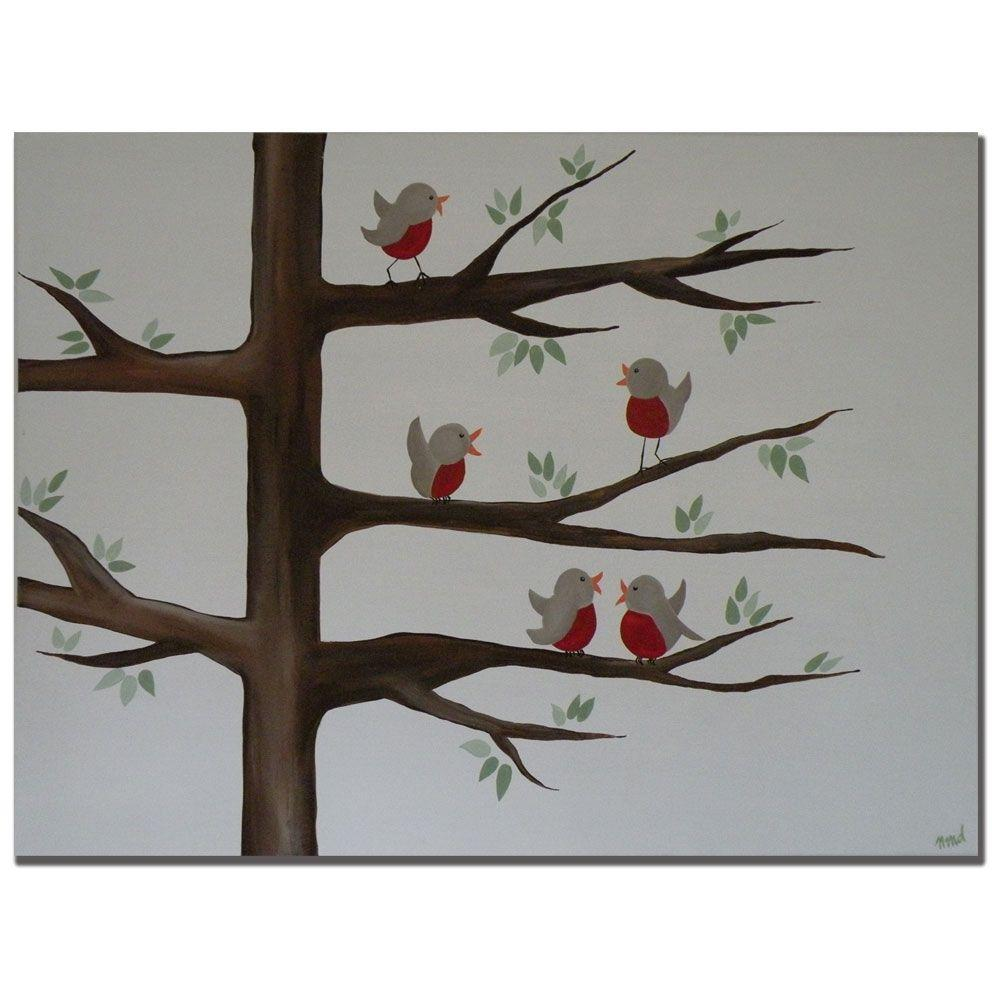 Trademark Fine Art 24 in. x 32 in. Red Robins Canvas Art