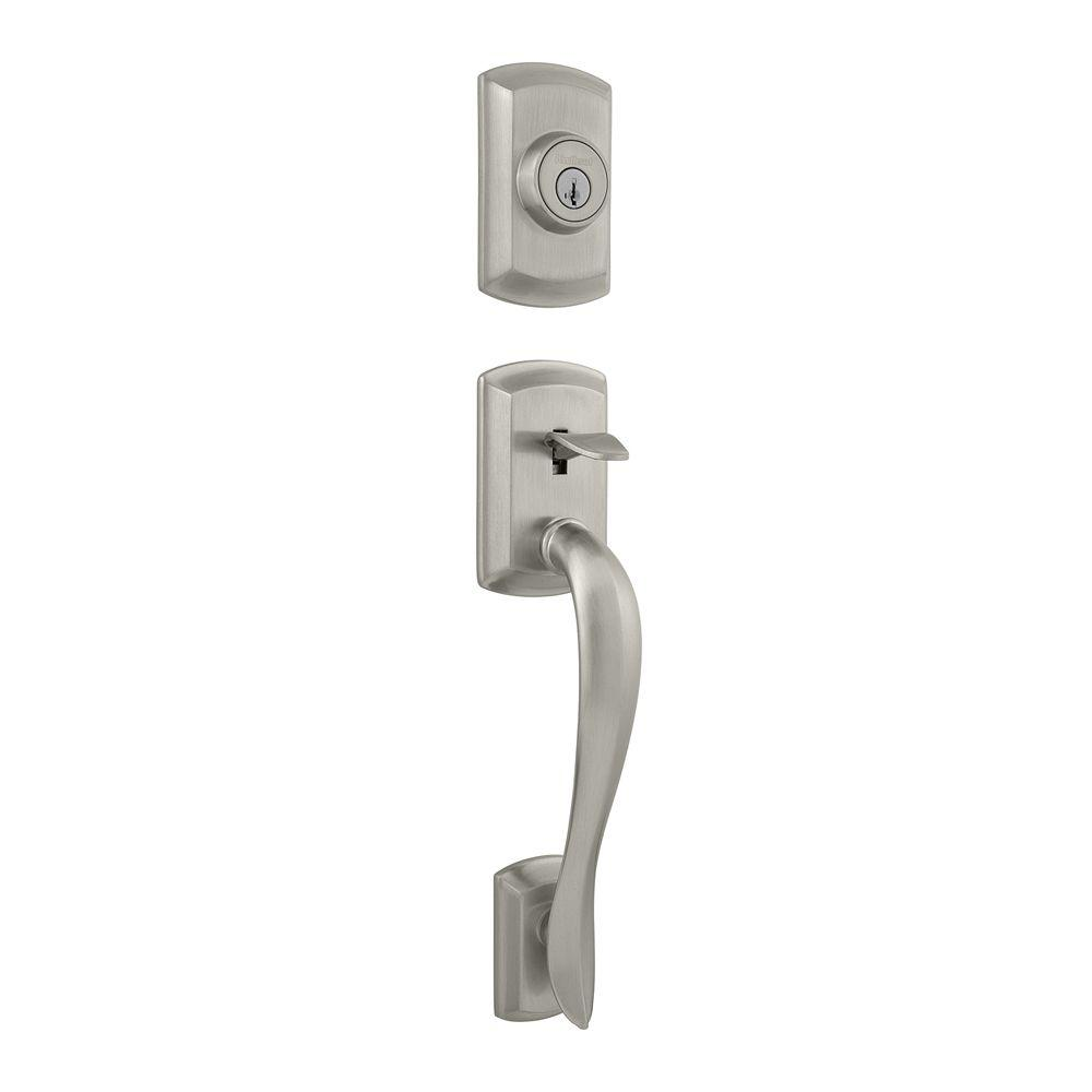 Avalon Double Cylinder Satin Nickel Handleset Less Interior Pack featuring