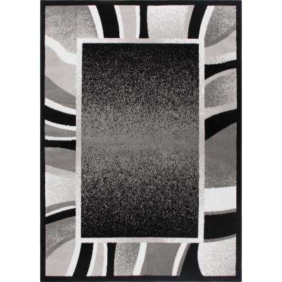 Border 1 8 Black Area Rugs Rugs The Home Depot
