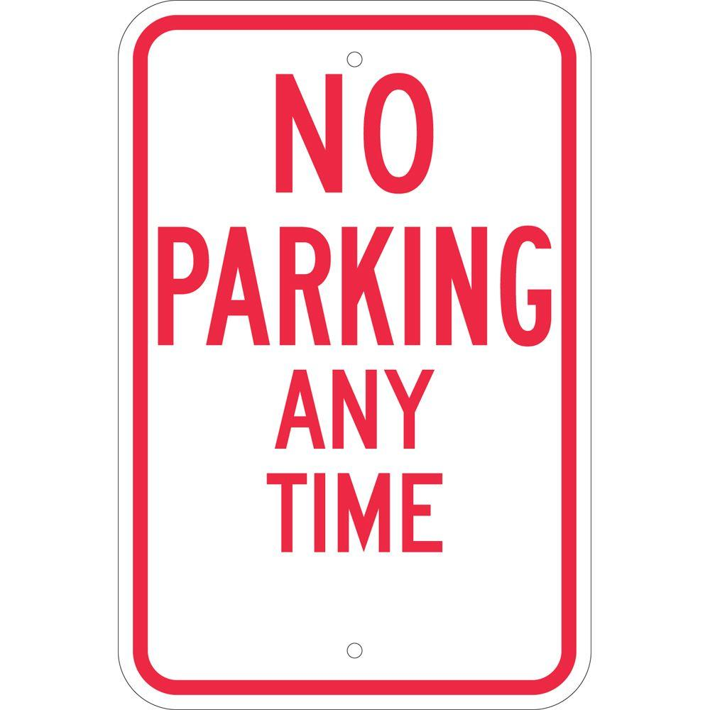 Brady 18 in. x 12 in. Aluminum No Parking Any Time Sign, Red Post your parking restrictions clearly with help from the Brady Traffic Sign 18 in. x 12 in. Aluminum No Parking Any Time Sign. This aluminum sign conforms to MUTCD specifications. Color: Red.