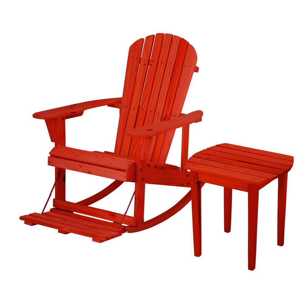 Zero Gravity Red 2-Piece Wood Adirondack Rocking Chair Bistro Set