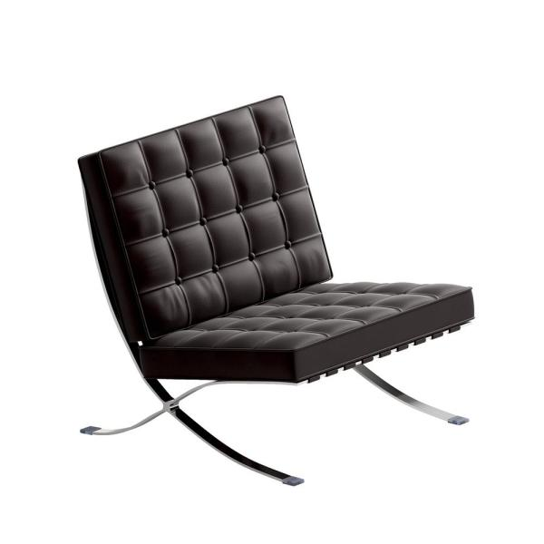 Barcelona Chair Genuine Leather Chair Premium Reproduction Brown Barcelona Chair Stainless Frame Accent Chair