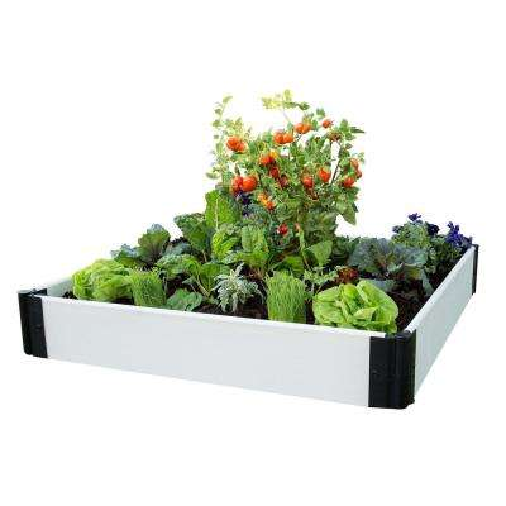 4 ft. x 4 ft. x 8 in. Classic White Composite Raised Garden Bed Kit