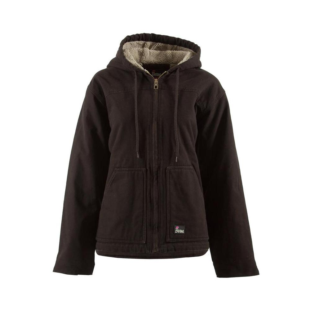 Women's Extra Large Dark Brown Cotton Fine Sherpa Lined Washed Hooded