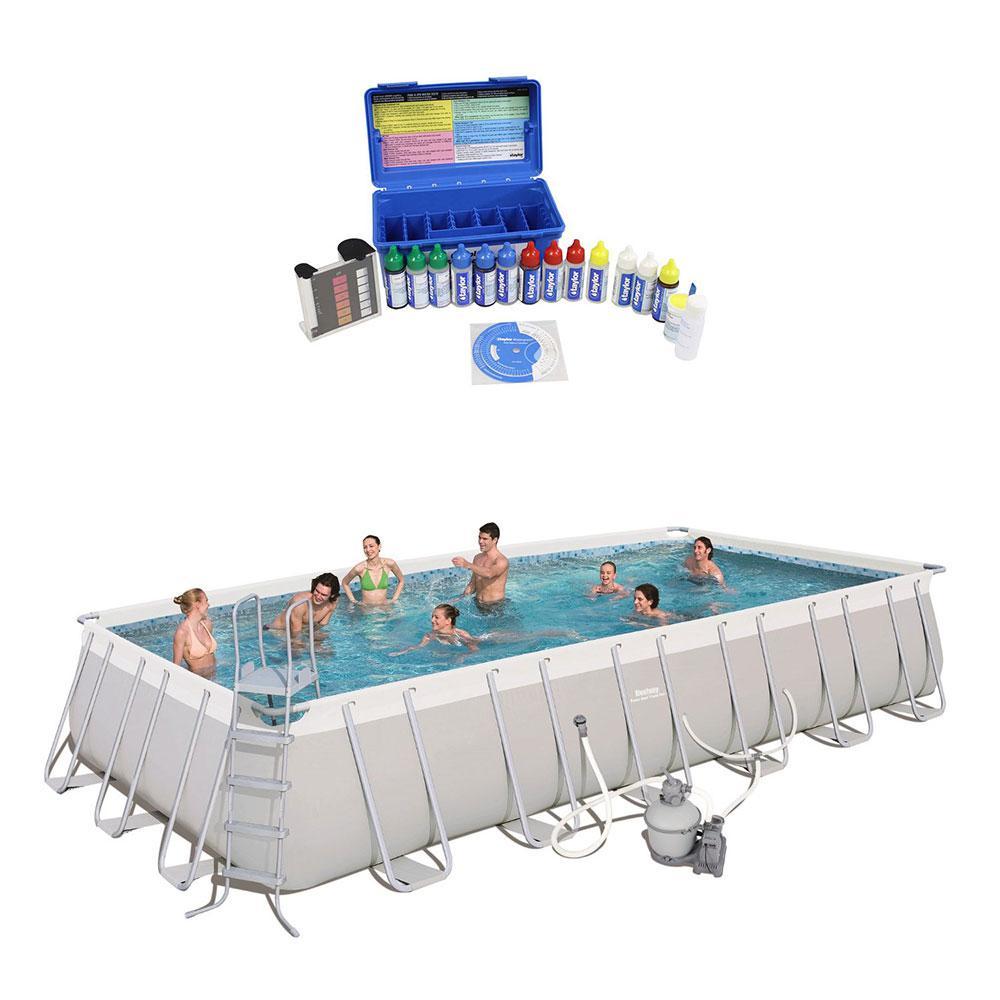 24 ft. Rectangular Frame Swimming Pool with Taylor Pool Water Test Kit