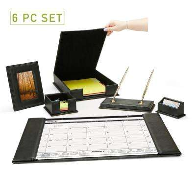 PU Leather Full Desk Accessory Set Organizer in Black