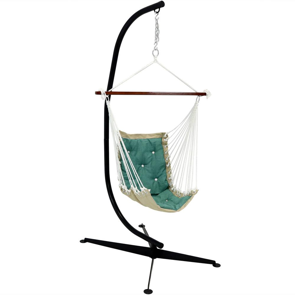 Brilliant Sunnydaze Decor Tufted Victorian Hanging Rope Hammock Chair With C Stand 300 Lbs Weight Capacity In Sea Green Short Links Chair Design For Home Short Linksinfo