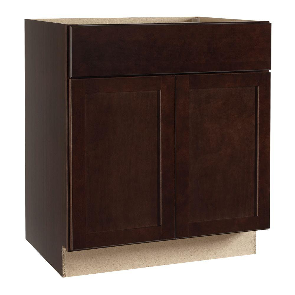 Hampton Bay Shaker Assembled 30x34.5x24 in. Base Kitchen Cabinet with  Ball-Bearing Drawer Glides in Java