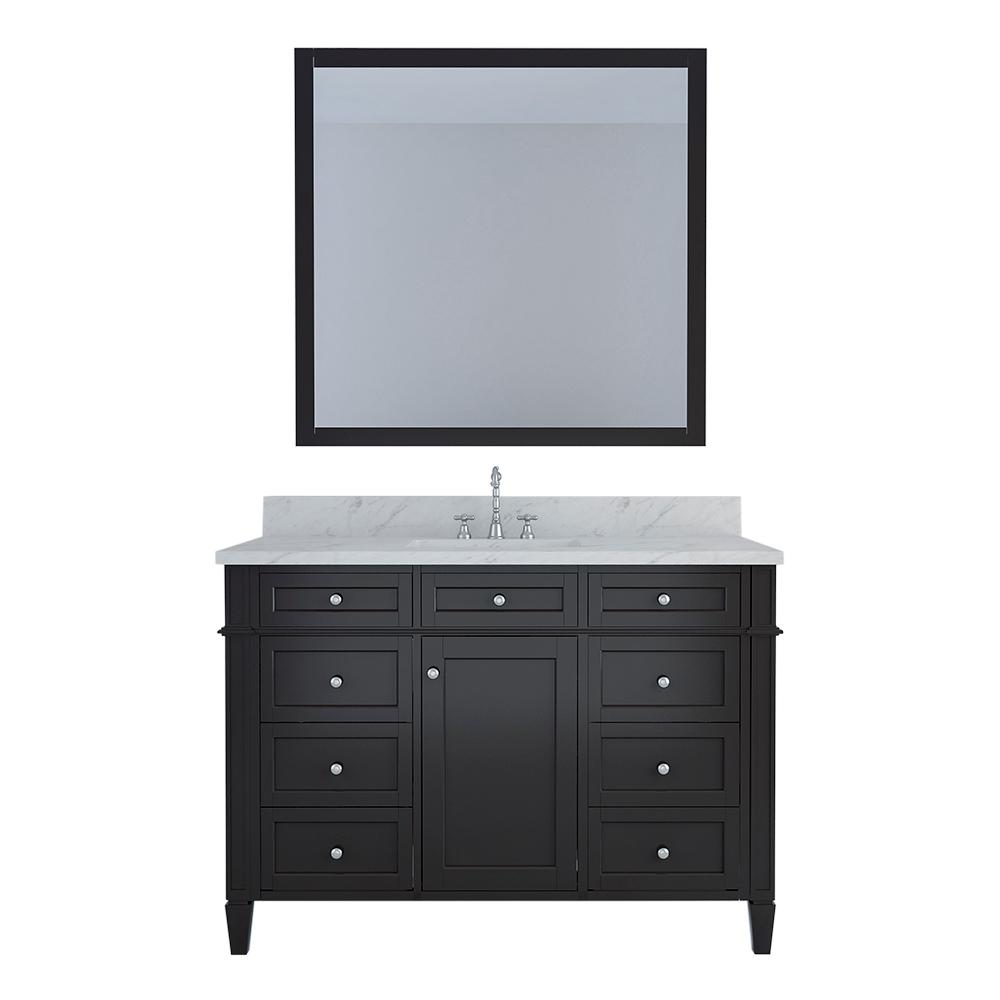 Design Element Birmingham 48 in. W x 22 in. D Bath Vanity in Espresso with Marble Vanity Top in White with White Basin and Mirror