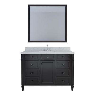 Birmingham 48 in. W x 22 in. D Bath Vanity in Espresso with Marble Vanity Top in White with White Basin and Mirror