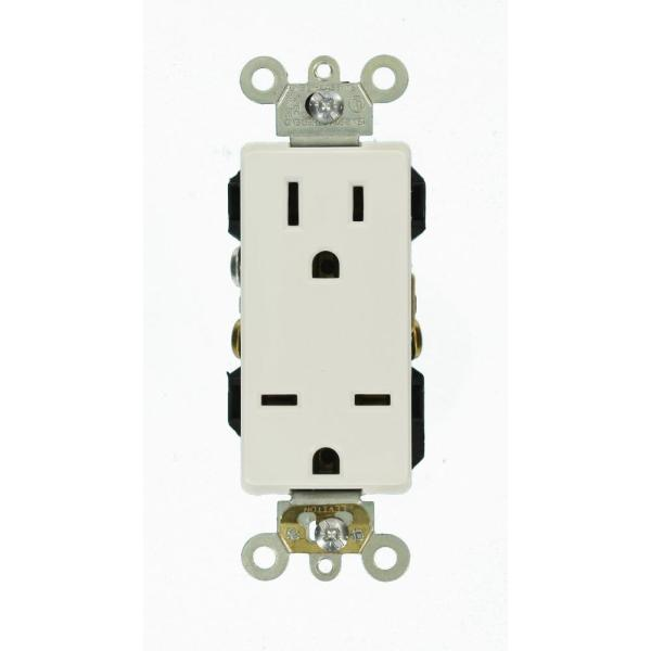 Decora Plus 15 Amp Commercial Grade Dual-Voltage Self Grounding Duplex Outlet, White