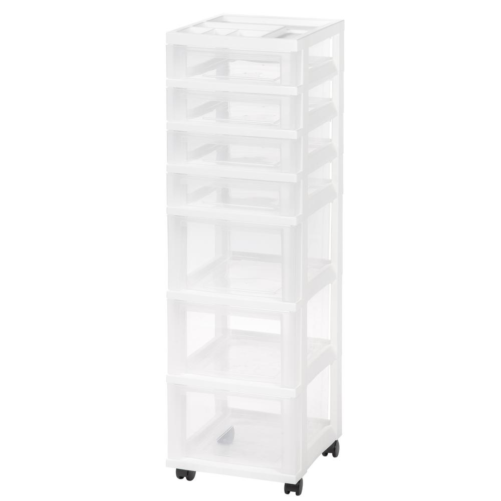 White 7-Drawer Storage Cart with Organizer  sc 1 st  Home Depot & IRIS 12.05 in. x 42.13 in. White 7-Drawer Storage Cart with ...
