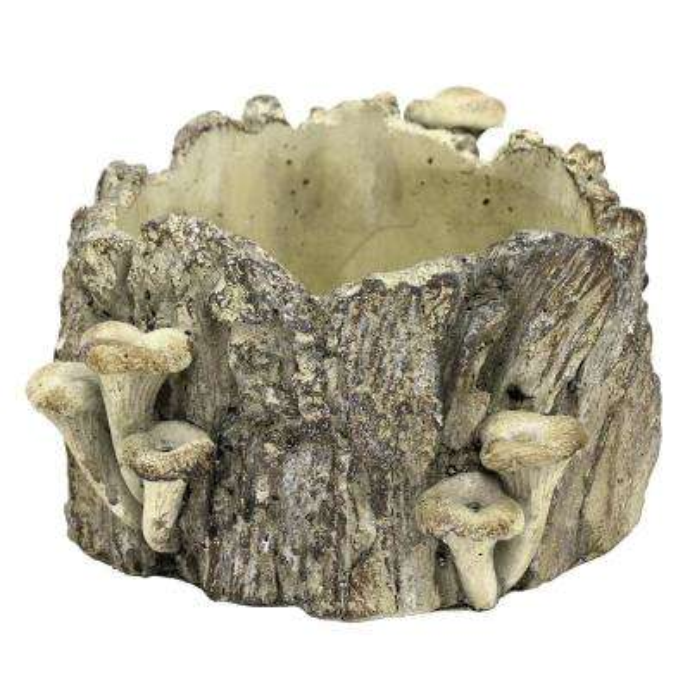 4.5 in. Wood Look Planter with Mushroom