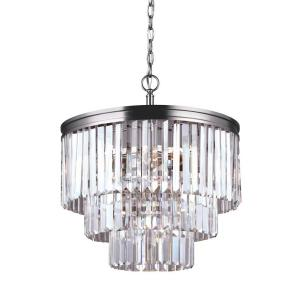 Sea Gull Lighting Carondelet 4-Light Antique Brushed Nickel Multi Tier Chandelier with Crystal Shade by Sea Gull Lighting