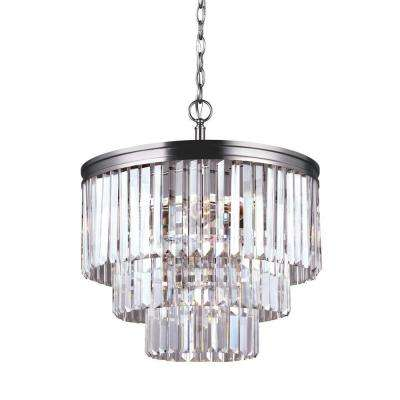 Carondelet 18.1875 in. W 4-Light Antique Brushed Nickel Multi Tier Chandelier with Crystal Glass
