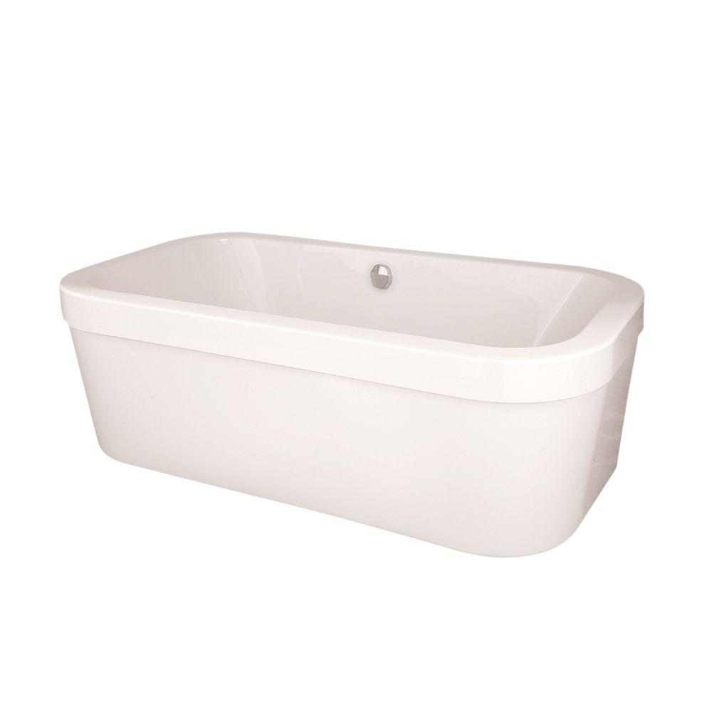 Birmingham 6 ft. Center Drain Freestanding Air Bath Tub in White