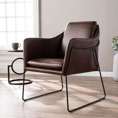 Myrie Distressed Brown Faux Leather Accent Chair