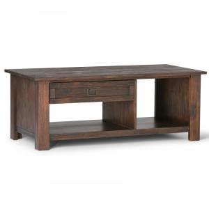 Monroe Solid Acacia Wood 48 in. Wide Rustic Rectangular Coffee Table in Distressed Charcoal Brown