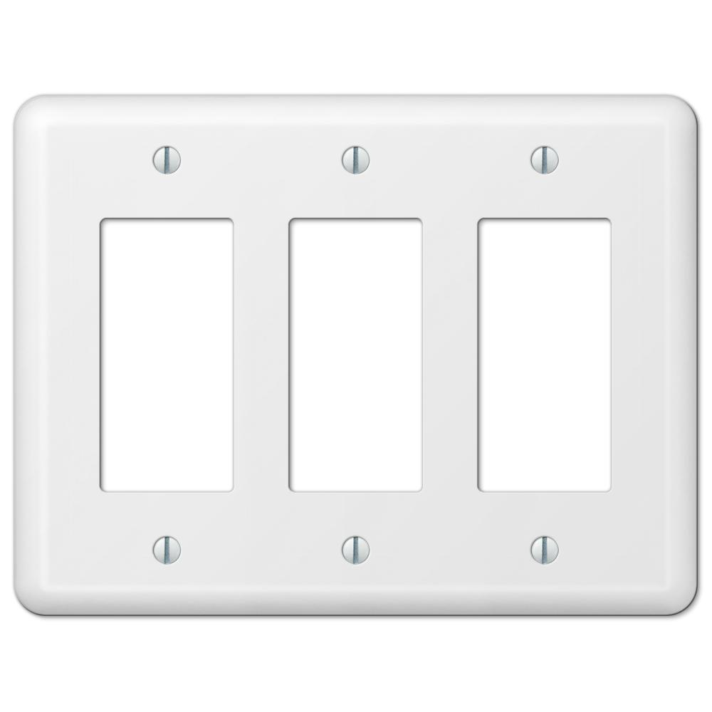 Amerelle Declan Steel 3 Decorator Wall Plate White