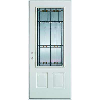 37.375 in. x 82.375 in. Architectural 3/4 Lite 2-Panel Painted White Right-Hand Inswing Steel Prehung Front Door