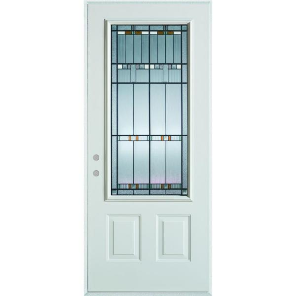 36 in. x 80 in. Architectural 3/4 Lite 2-Panel Painted White Right-Hand Inswing Steel Prehung Front Door