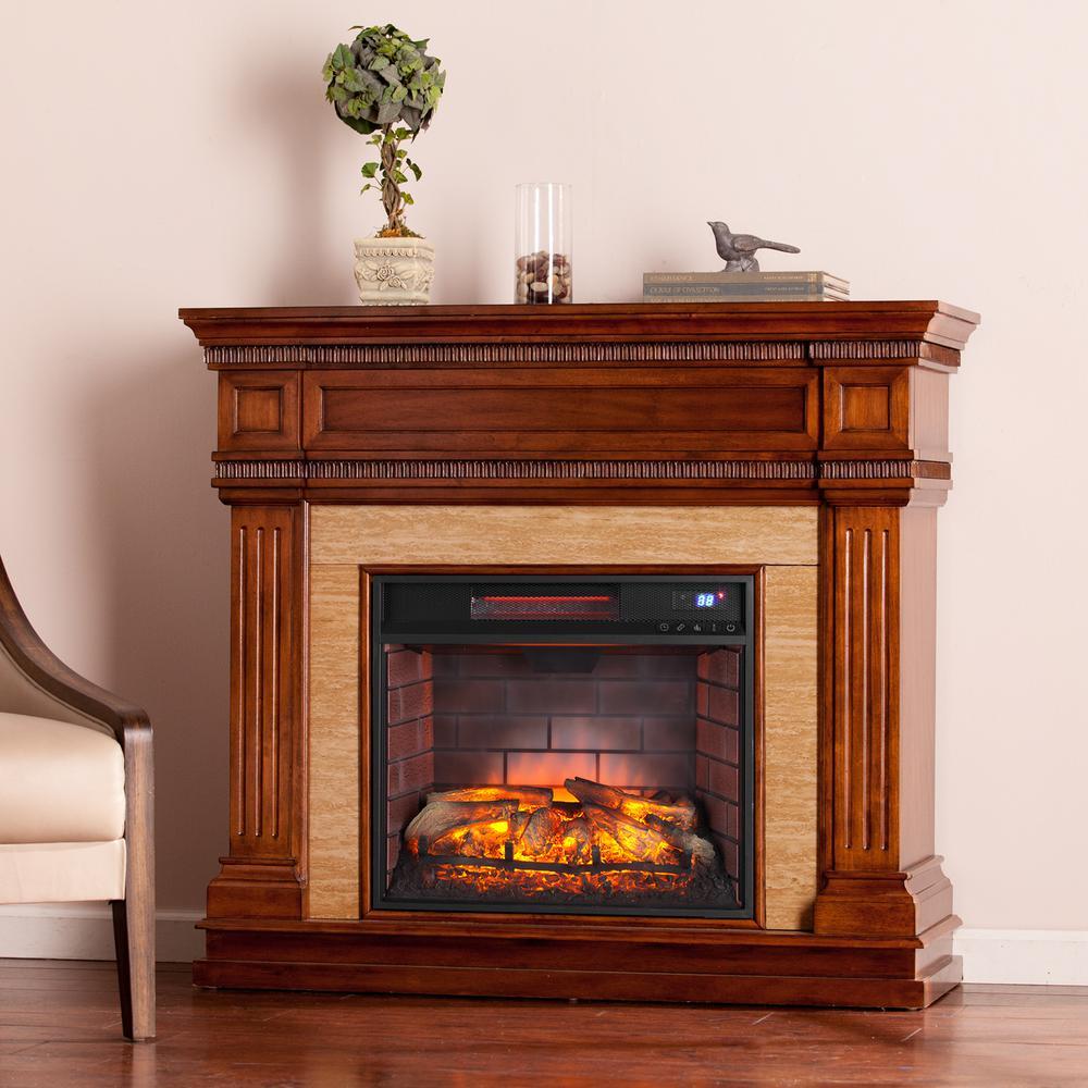 Kingston 45.5 in. W Stone Look Infrared Electric Fireplace in Oak Saddle