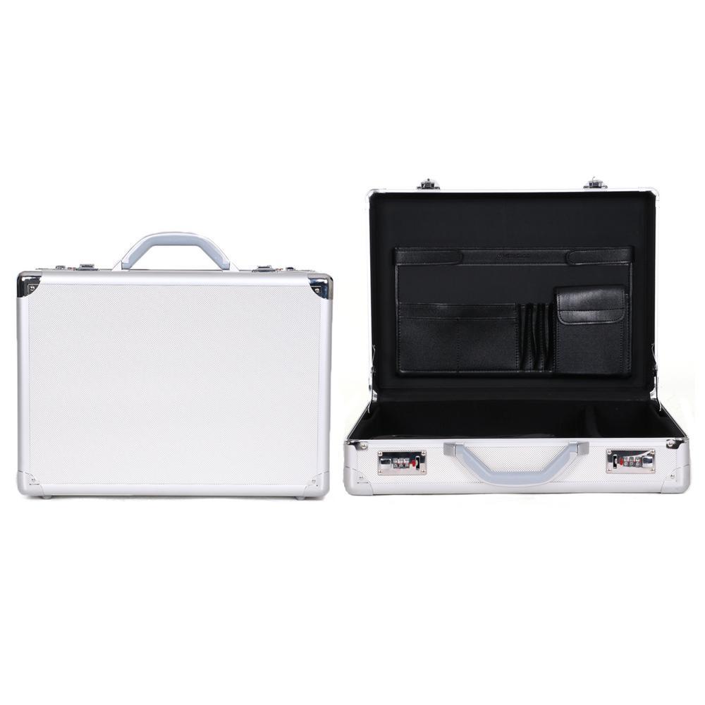 Metallic Silver Aluminum Anti-Theft Combination Snap-Lock 17.3 in. Computer Attache Case / Business Case