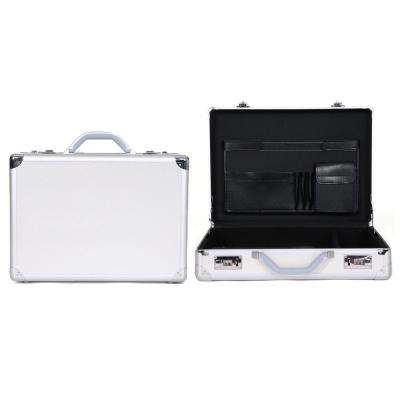 Metallic Silver Aluminum Anti-Theft Combination Snap-Lock 17.3 in. Computer Attache Case / Business Case