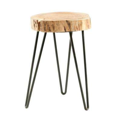 Brown Acacia Wood Accent Table with Hairpin Legs