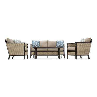 Colton 4-Piece Wicker Outdoor Seating Set with Sunbrella Cast Shale Cushion