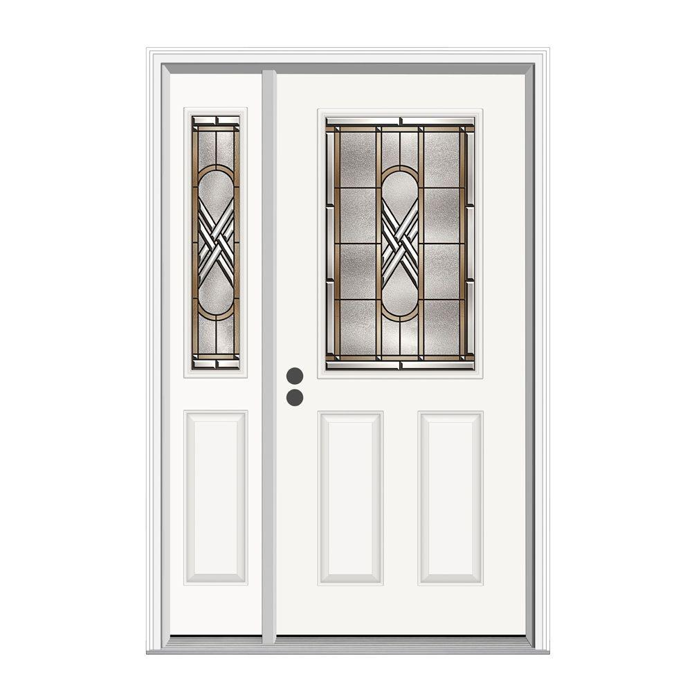 JELD-WEN 50.125 in. x 81.75 in. 1/2 Lite Ascot Primed Steel Prehung Right-Hand Inswing Front Door with Left-Hand Sidelite