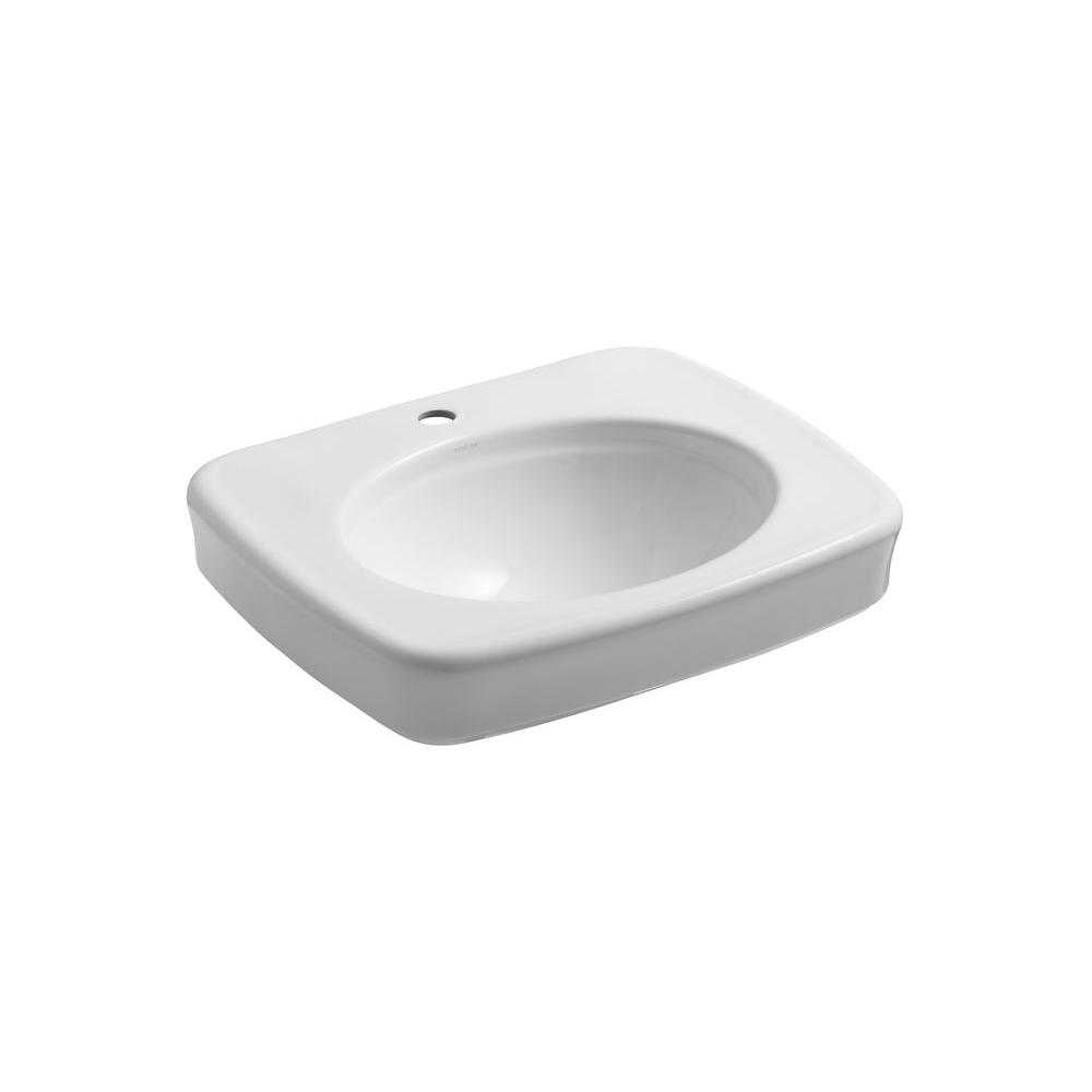 Bancroft 5 in. Vitreous China Pedestal Sink Basin in White with