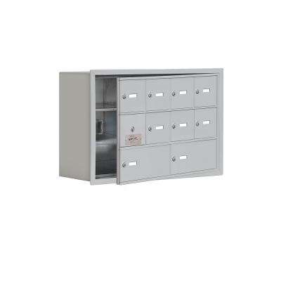 19100 Series 29.25 in. W x 18.75 in. H x 8.75 in. D 9 Doors Cell Phone Locker Recess Mount Keyed Lock in Aluminum