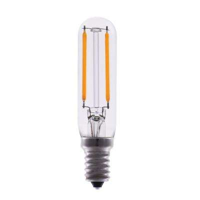 15-Watt Equivalent T6 Dimmable Tubular Clear Filament Glass LED Light Bulb Warm White 2700K