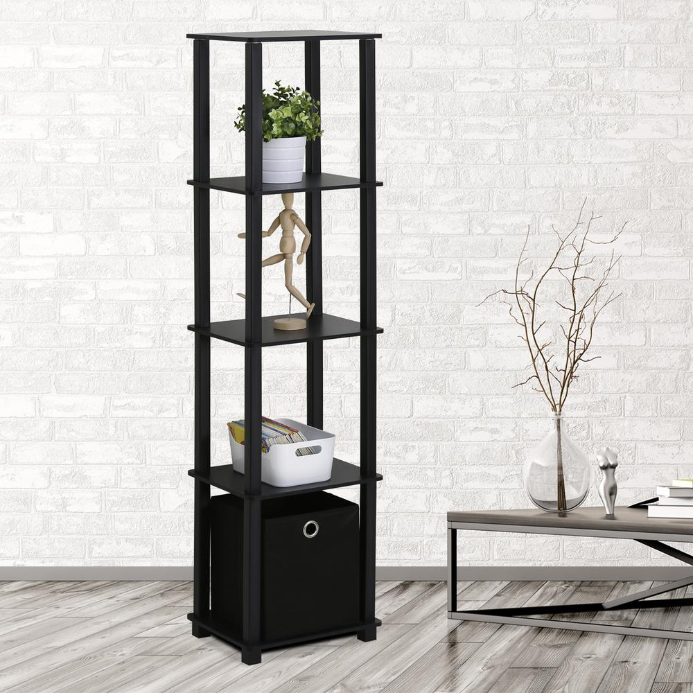 Open bookcase turn n tube black display shelf home office for Display home furniture