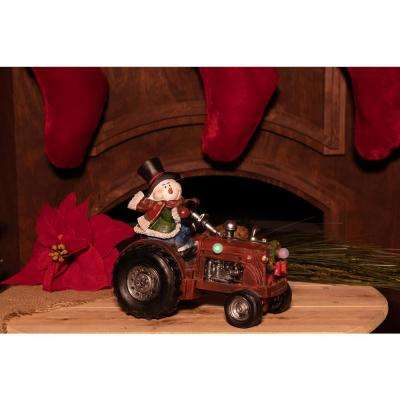 9 in. Snowman on Tractor Decor with 3 LED Lights- Color Changing