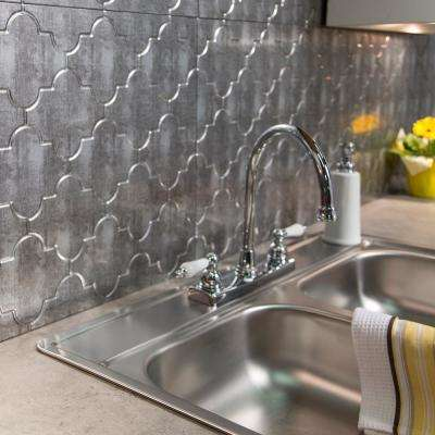 Monaco 18 in. x 24 in. Crosshatch Silver Vinyl Decorative Wall Tile Backsplash 18 sq. ft. Kit
