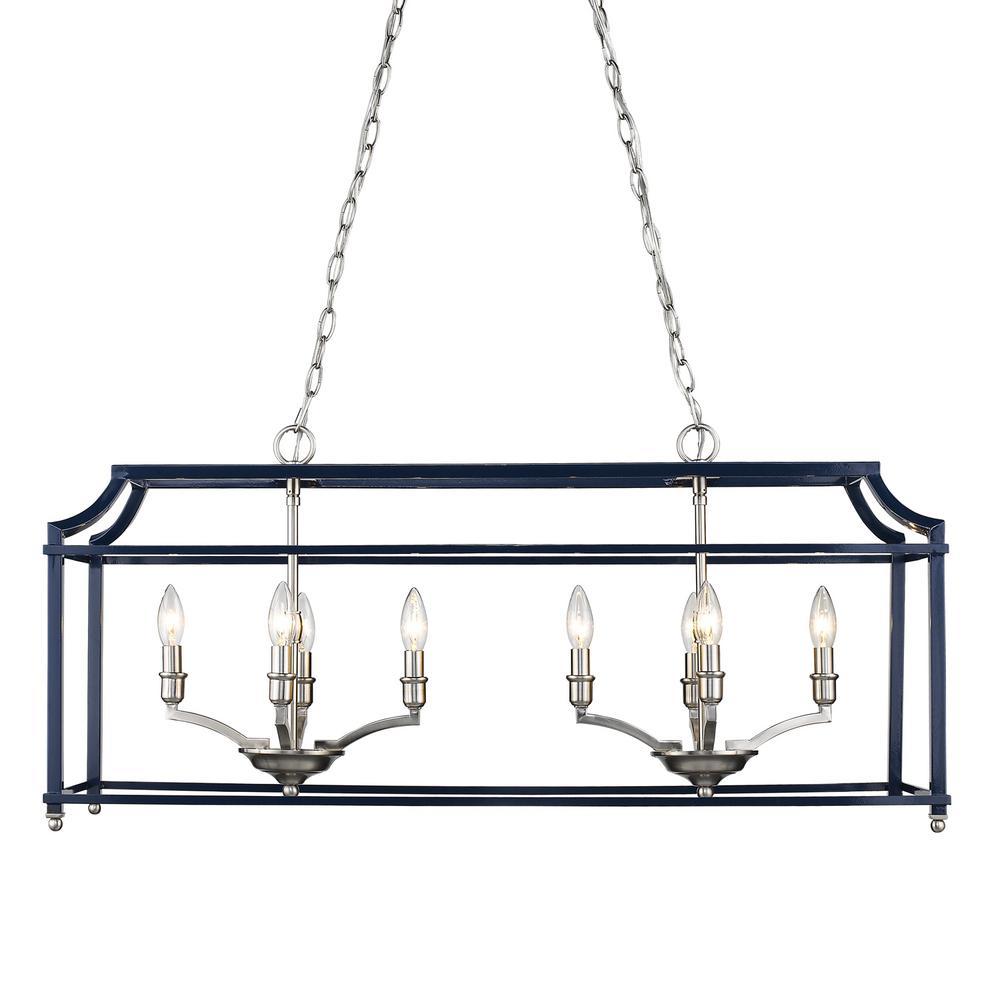Leighton 8-Light Pewter and Navy Blue Pendant Light