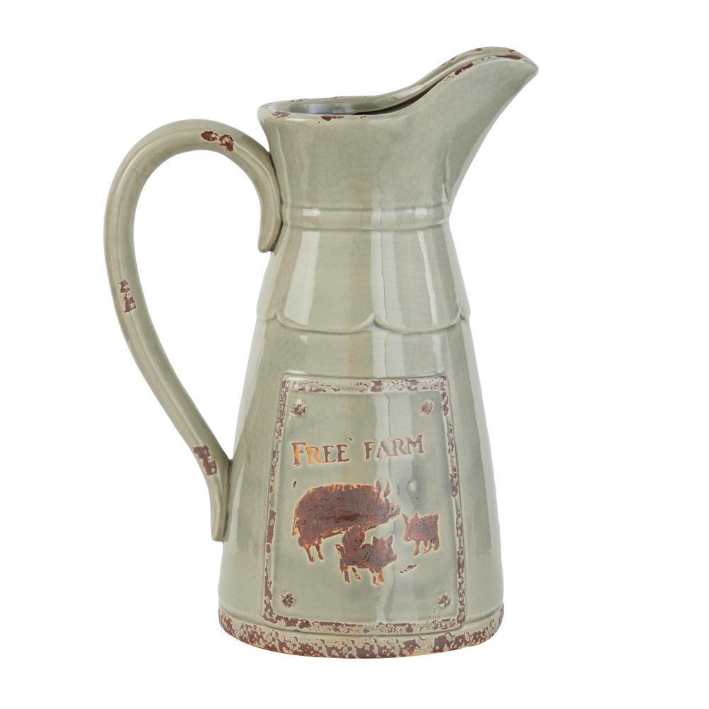 Grey Porcelain Farmhouse Decorative Jar