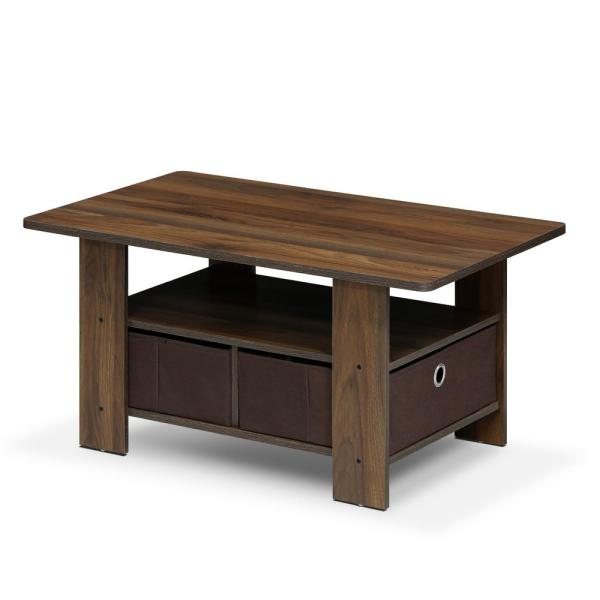 Home 32 in. Columbia Walnut/Dark Brown Medium Rectangle Wood Coffee Table with Drawers