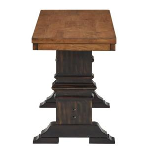 Superb Two Tone Oak And Antique Black Dining Bench With Trestle Leg Ibusinesslaw Wood Chair Design Ideas Ibusinesslaworg