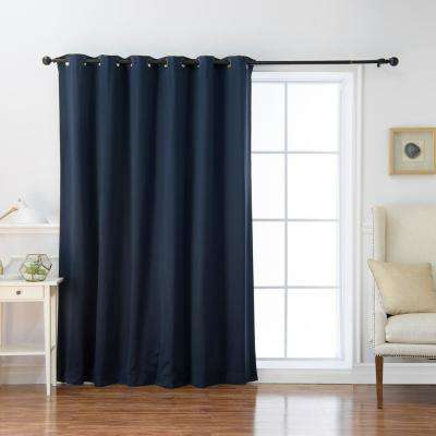 100 in. x 84 in. Flame Retardant Blackout Curtain Panel in Navy