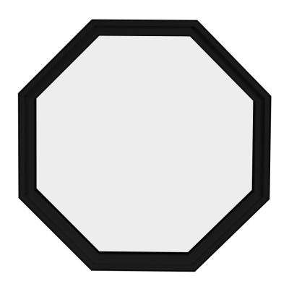 36 in. x 36 in. Octagon Black 6-9/16 in. Jamb Geometric Aluminum Clad Wood Window