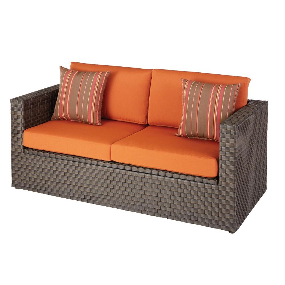 Hampton Bay Moreno Valley Patio Loveseat With Sunbrella Canvas Rust Cushions