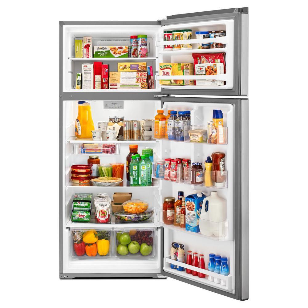 Whirlpool 18 cu  ft  Top Freezer Refrigerator in Stainless Steel